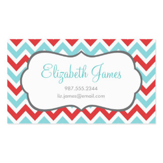 Red and Aqua Colorful Chevron Stripes Double-Sided Standard Business Cards (Pack Of 100)