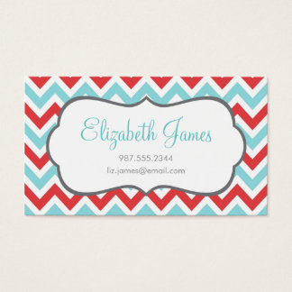 Red and Aqua Colorful Chevron Stripes Business Card