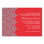 Red and Aqua Damask Wedding Invitation