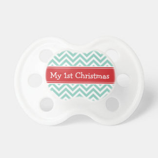 Red and Aqua First Christmas Holiday Chevron Pacifier