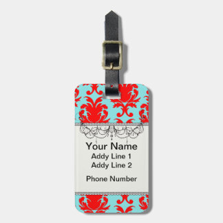red and aqua lovely formal damask bag tag