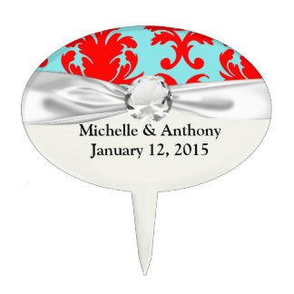 red and aqua lovely formal damask cake topper