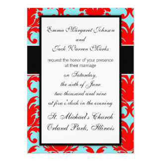 red and aqua lovely formal damask card