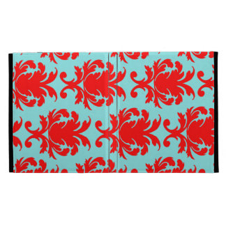 red and aqua lovely formal damask iPad folio case