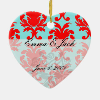 red and aqua lovely formal damask ceramic ornament