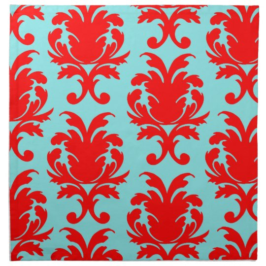 red and aqua lovely formal damask cloth napkin