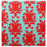 red and aqua lovely formal damask cloth napkins