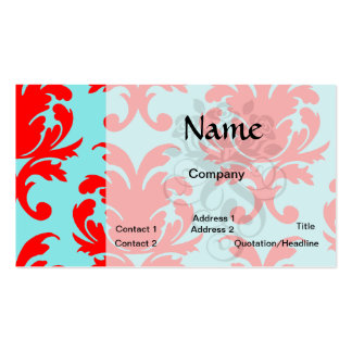 red and aqua lovely formal damask Double-Sided standard business cards (Pack of 100)