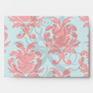 red and aqua lovely formal damask envelope
