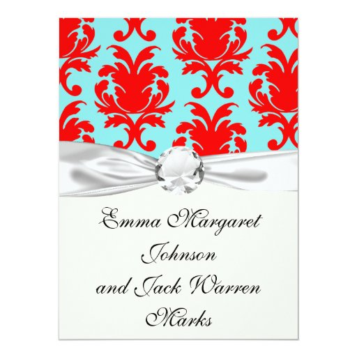 red and aqua lovely formal damask 6.5x8.75 paper invitation card