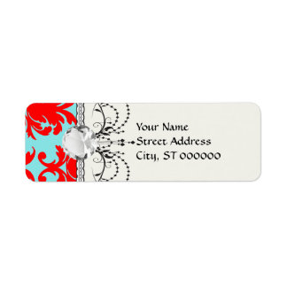 red and aqua lovely formal damask label
