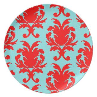 red and aqua lovely formal damask melamine plate