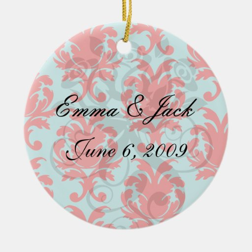 red and aqua lovely formal damask christmas ornaments