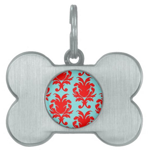 red and aqua lovely formal damask pet tags