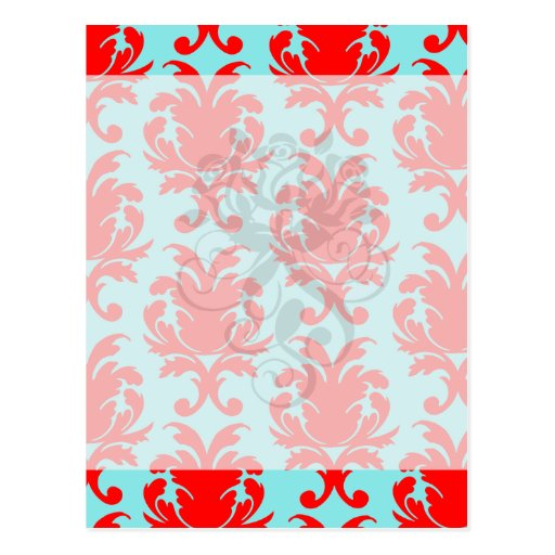 red and aqua lovely formal damask postcard
