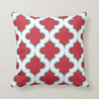 Red and Aqua Moroccan Quatrefoil Pillow