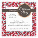 Red and aqua polka dots Christmas Party invitation