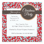 Red and aqua polka dots Christmas Party 5.25x5.25 Square Paper Invitation Card