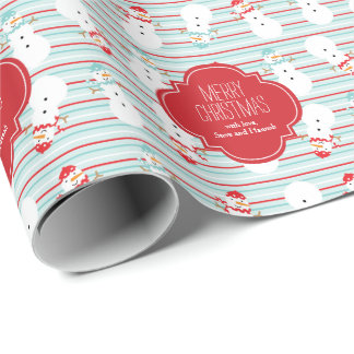 Red and Aqua Snowmen Personalized Holiday Wrapping Paper