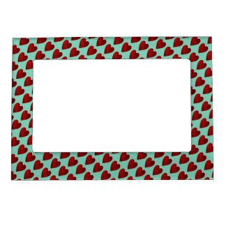 Red and aqua Valentines Day hearts Magnetic Picture Frame