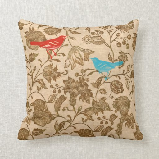 Red and Aqua Vintage Modern Floral Bird Pattern Pillow