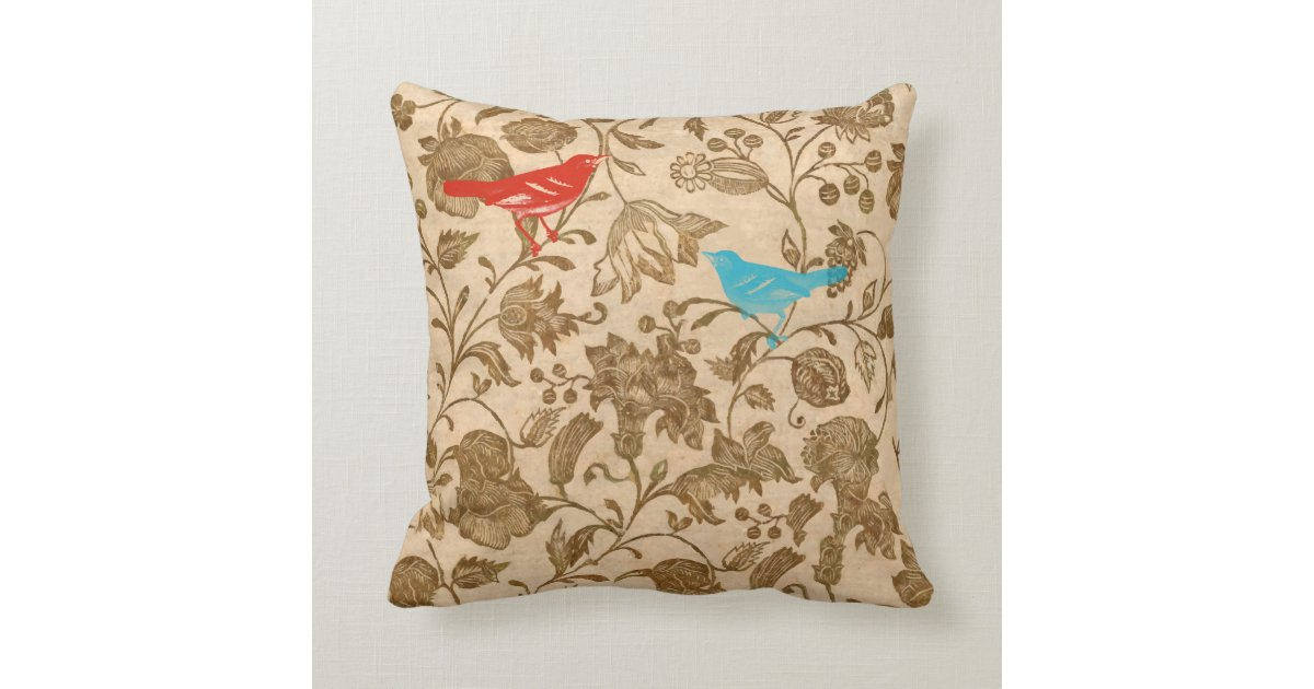 Bird Pattern Throw Pillows : Red and Aqua Vintage Modern Floral Bird Pattern Throw Pillow Zazzle.com