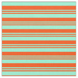 [ Thumbnail: Red and Aquamarine Colored Lined/Striped Pattern Fabric ]