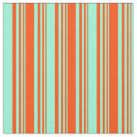 [ Thumbnail: Red and Aquamarine Colored Lines/Stripes Pattern Fabric ]