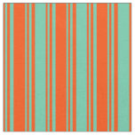 [ Thumbnail: Red and Aquamarine Stripes Pattern Fabric ]