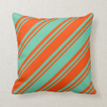 [ Thumbnail: Red and Aquamarine Stripes Pattern Throw Pillow ]
