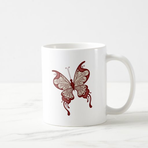 Red and Beige Butterfly Coffee Mug