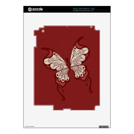 Red and Beige Butterfly Decals For iPad 2
