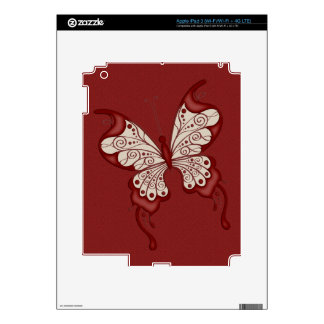 Red and Beige Butterfly Decals For iPad 3