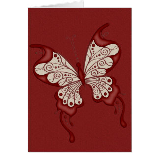 Red and Beige Butterfly Greeting Cards