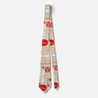 Red and Beige Christmas Sayings Languages Neck Tie