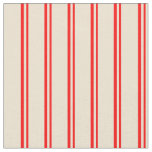[ Thumbnail: Red and Beige Colored Lined Pattern Fabric ]
