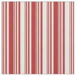 [ Thumbnail: Red and Beige Colored Striped Pattern Fabric ]