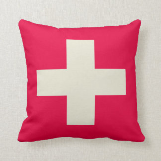 Red and beige cross design pillow