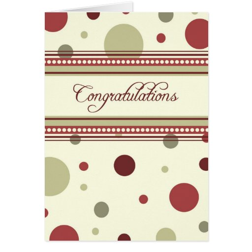 Red and Beige Dots Employee Anniversary Card