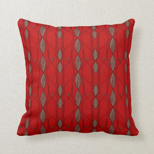 Red Brown Beige Throw Pillows : Red and Beige Funky Pattern Throw Pillows Zazzle