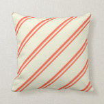 [ Thumbnail: Red and Beige Lines Throw Pillow ]