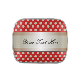 Red and Beige Polka Dot and Stripe Jelly Belly Tin