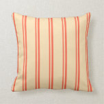 [ Thumbnail: Red and Beige Stripes/Lines Pattern Throw Pillow ]