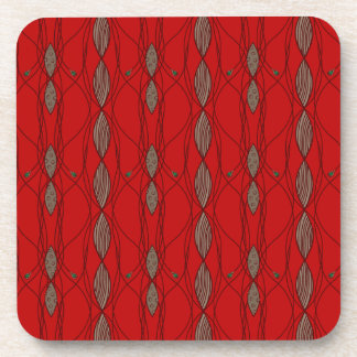 Red and Beige Template Beverage Coaster