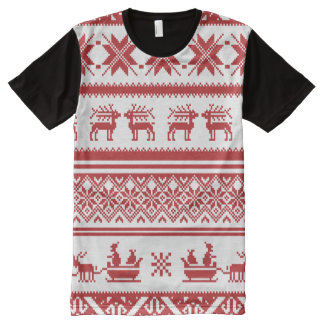 Red and Beige Ugly Christmas Sweater patterns All-Over-Print Shirt