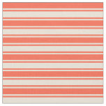[ Thumbnail: Red and Bisque Colored Lines Pattern Fabric ]
