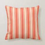 [ Thumbnail: Red and Bisque Colored Lines Pattern Throw Pillow ]