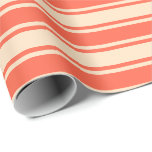 [ Thumbnail: Red and Bisque Colored Lines Pattern Wrapping Paper ]