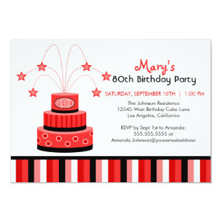 Red and Black 80th Birthday Cake Party Invitation