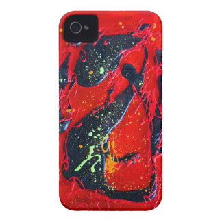 Red and Black Abstract Art iPhone 4 Case